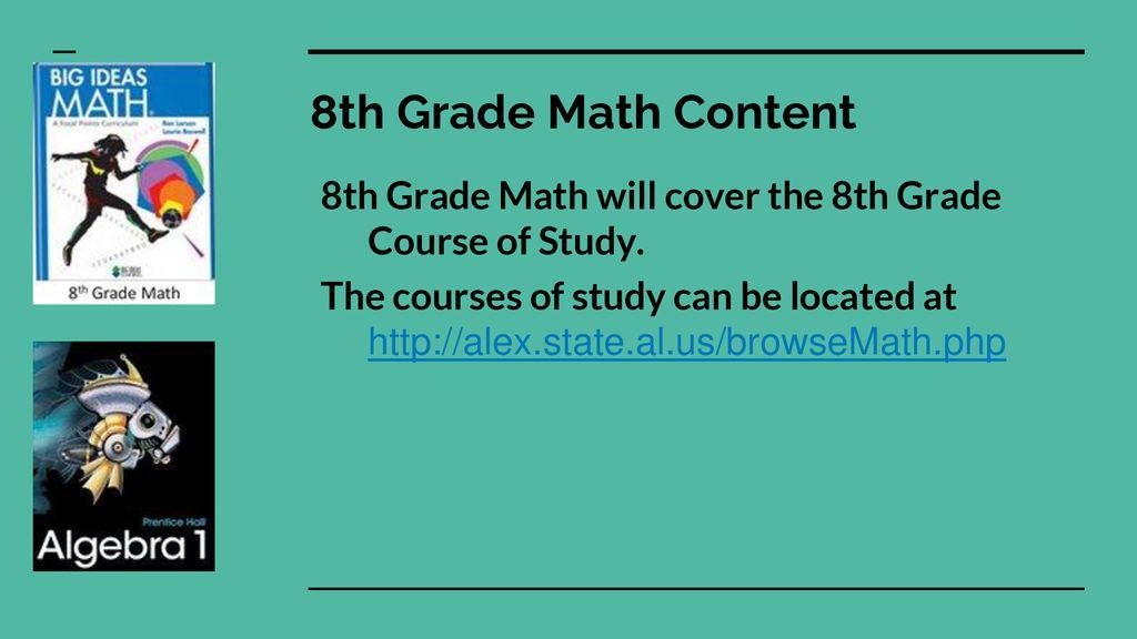 8th Grade Math Information - ppt download