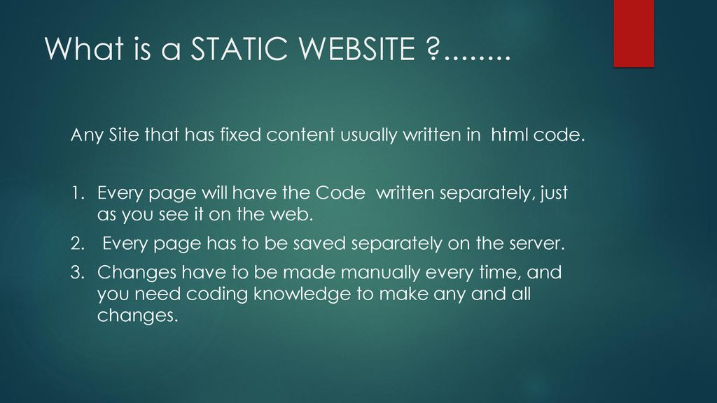 The Difference Between STATIC & DYNAMIC Websites - ppt download