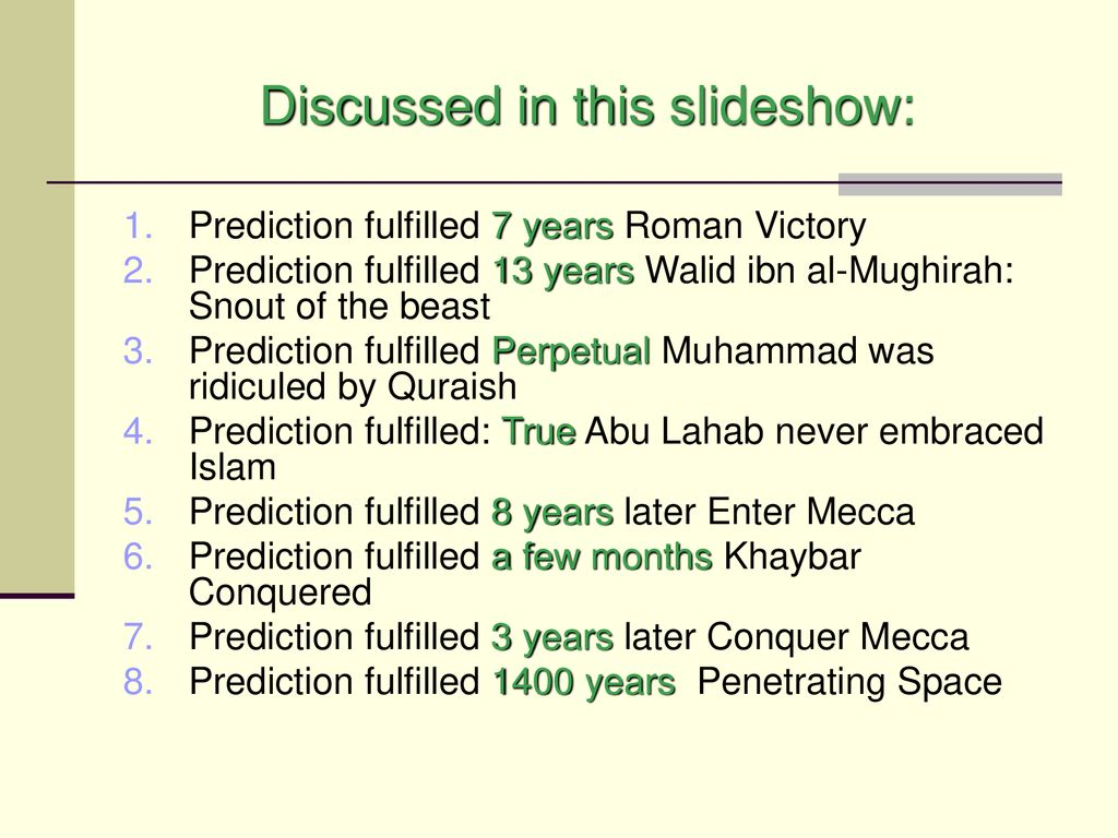 Fulfilled predictions