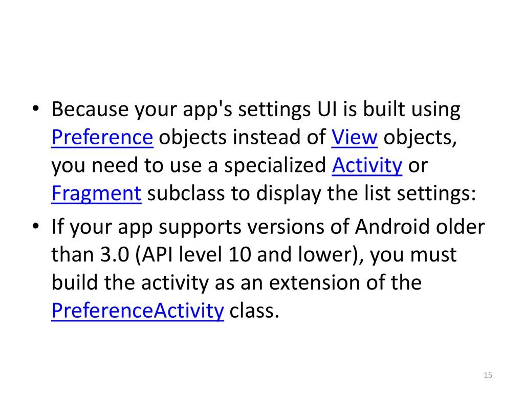 android settings activity fragment