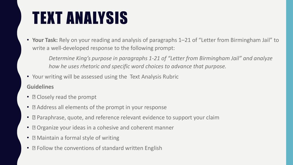 Text analysis Letter from Birmingham Jail   ppt download