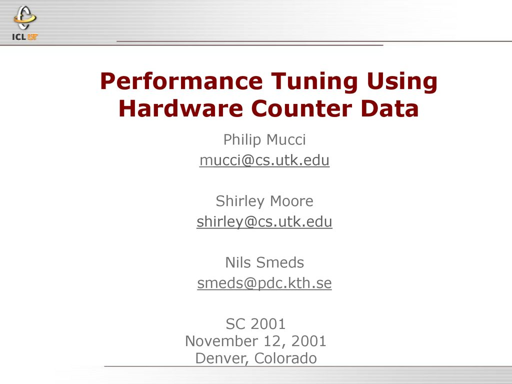 Performance Tuning Using Hardware Counter Data - ppt download