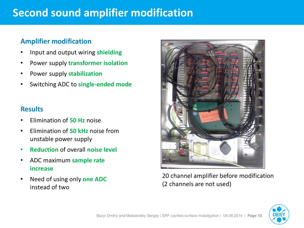 Srf Cavities Surface Investigation And Defect Removal Technologies Wiring Channel 10 Second Sound Amplifier Modification