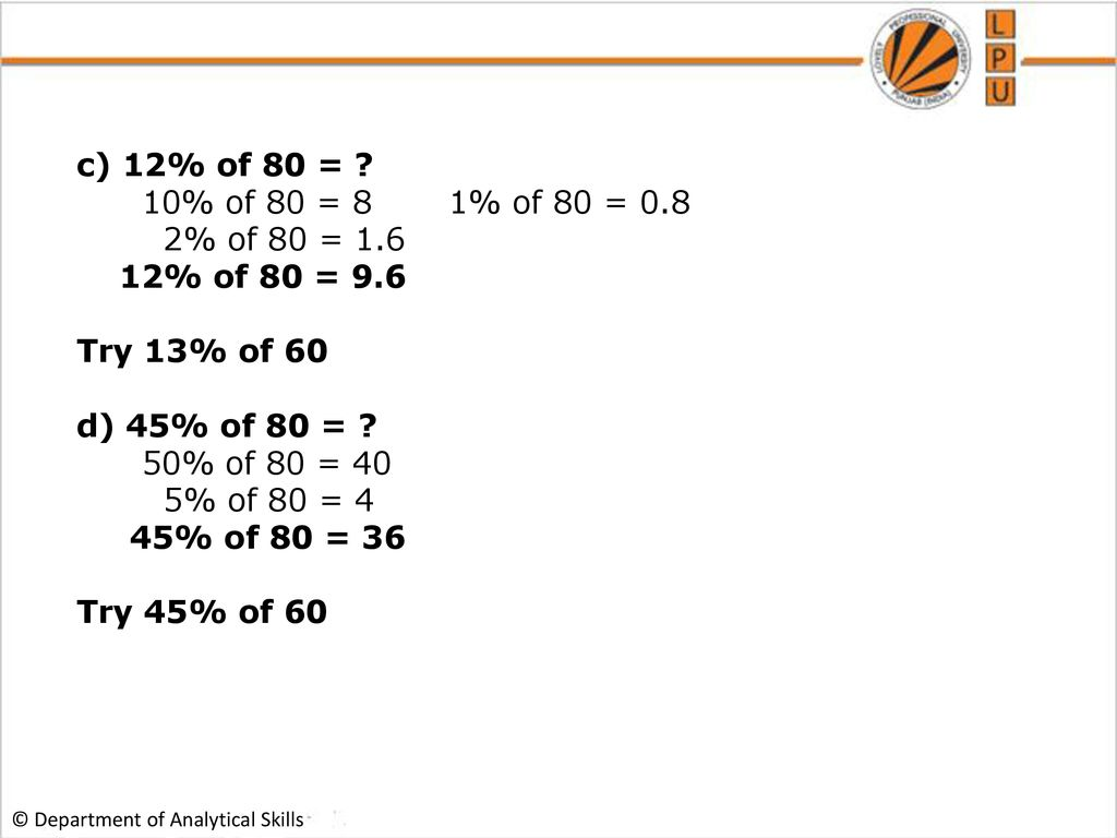 Percentage Department Of Analytical Skills Ppt Download
