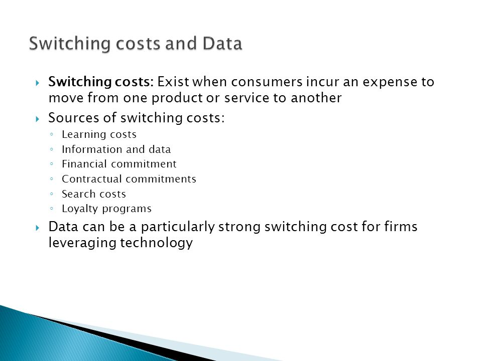 Switching costs and Data