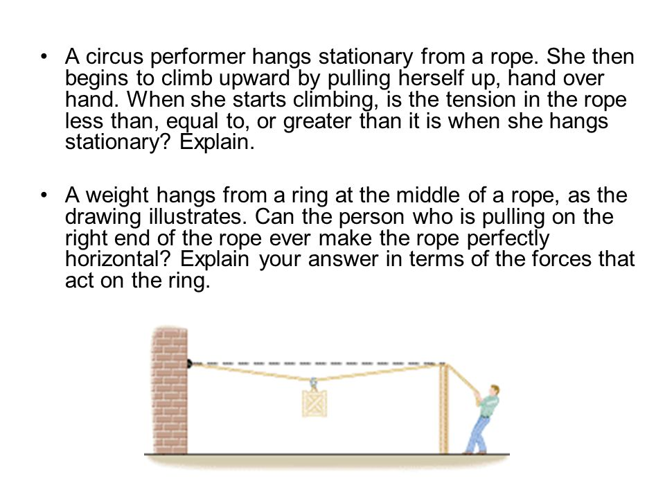 A circus performer hangs stationary from a rope