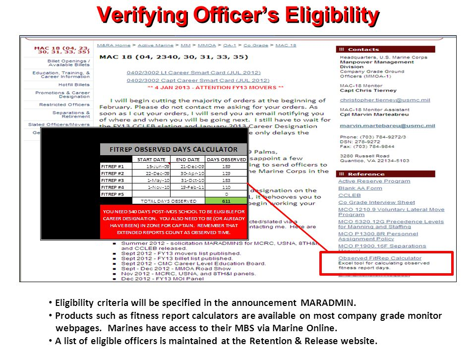 Verifying Officer's Eligibility