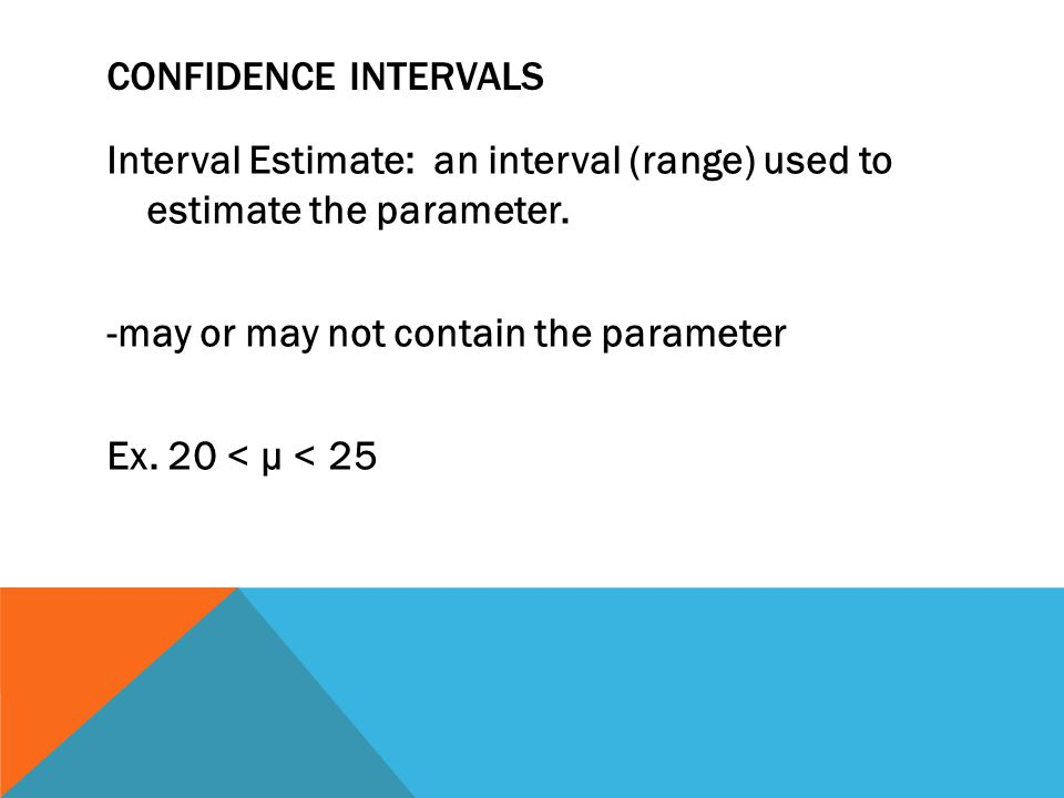 Confidence Intervals Interval Estimate: an interval (range) used to estimate the parameter.