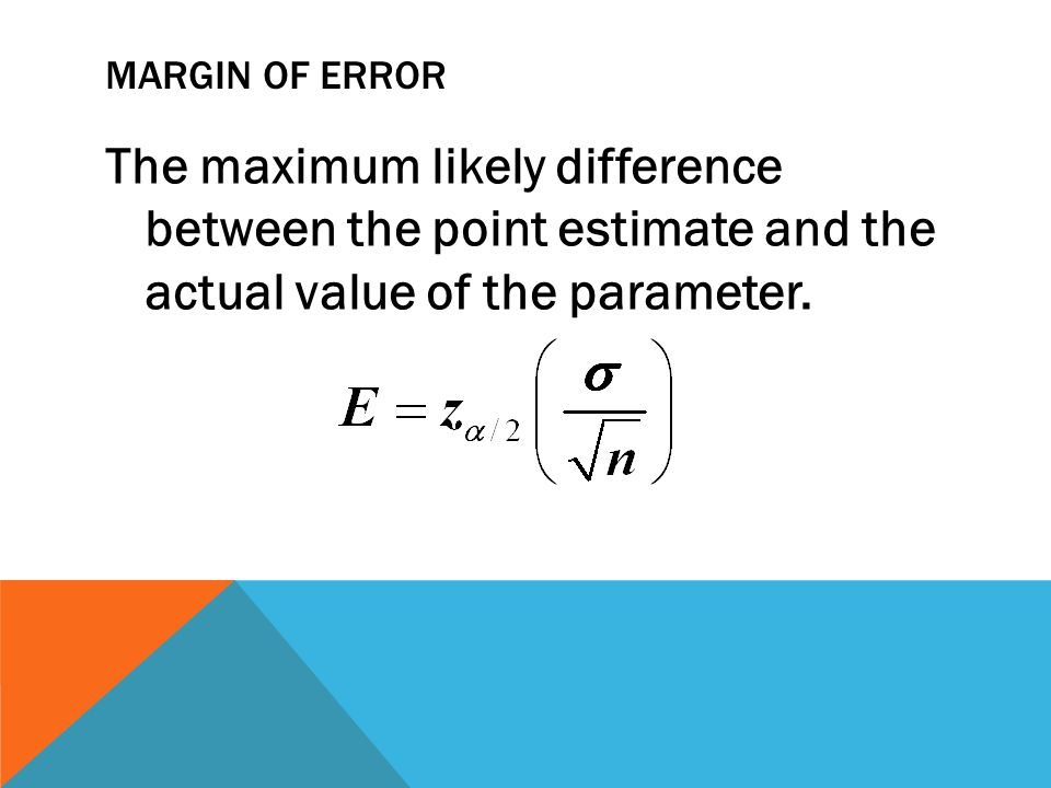 MARGIN of error The maximum likely difference between the point estimate and the actual value of the parameter.