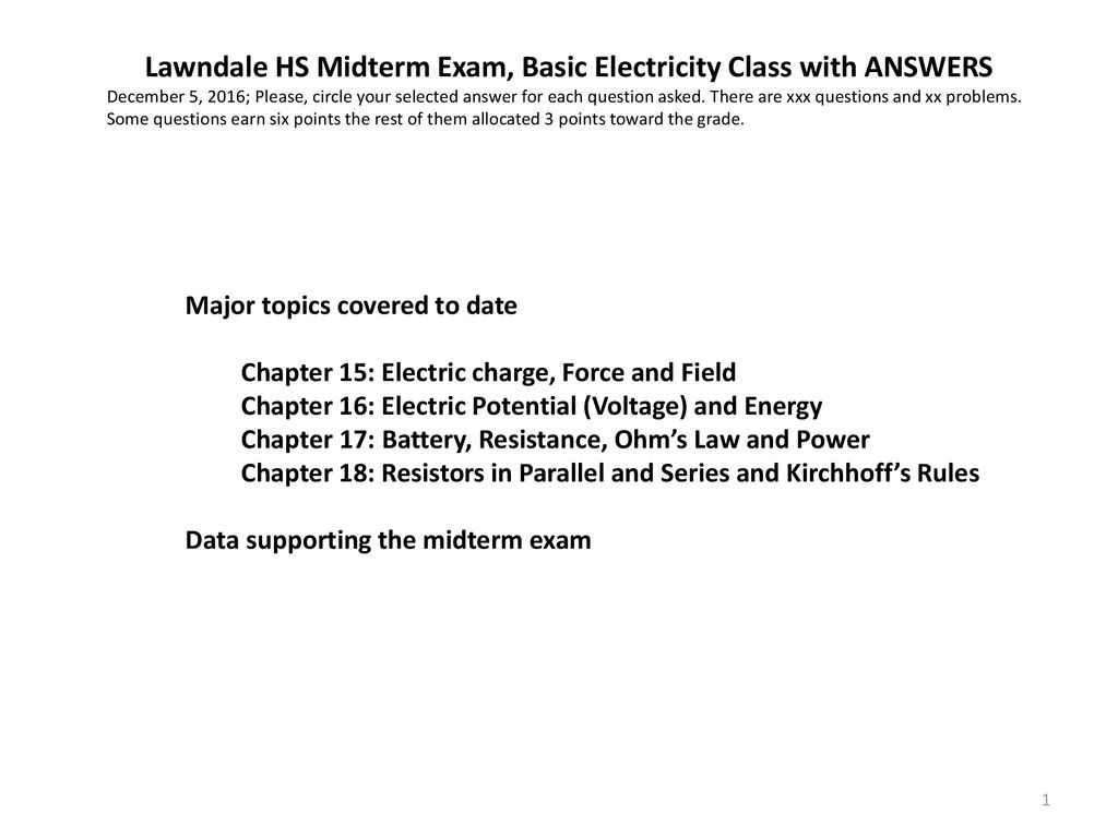 Lawndale Hs Midterm Exam Basic Electricity Class With Answers Ppt Basicelectricity