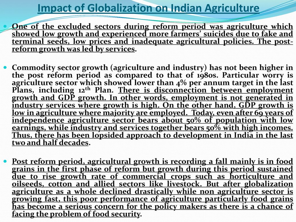 impact of globalisation on indian agriculture ppt