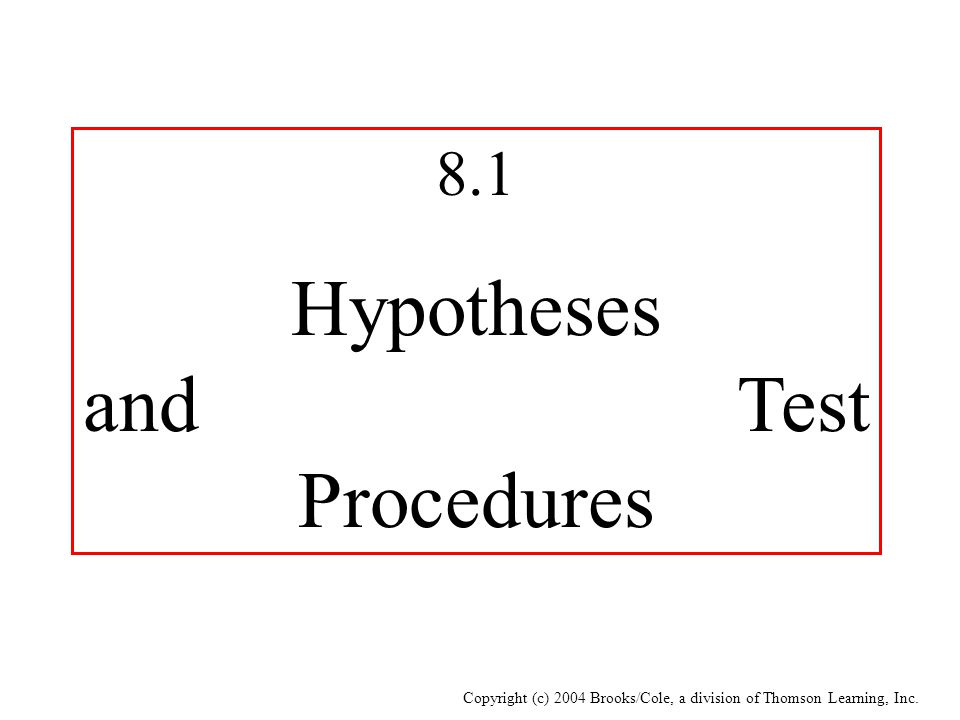 Hypotheses and Test Procedures