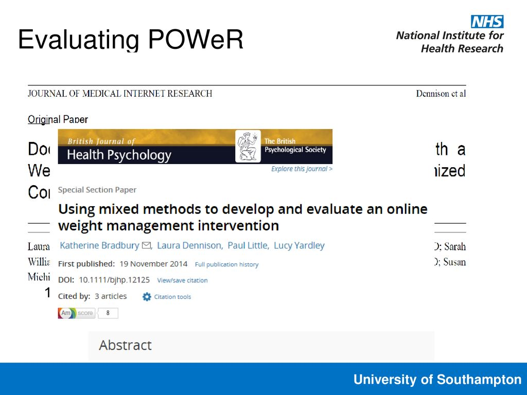 developing and evaluating an online intervention for weight loss