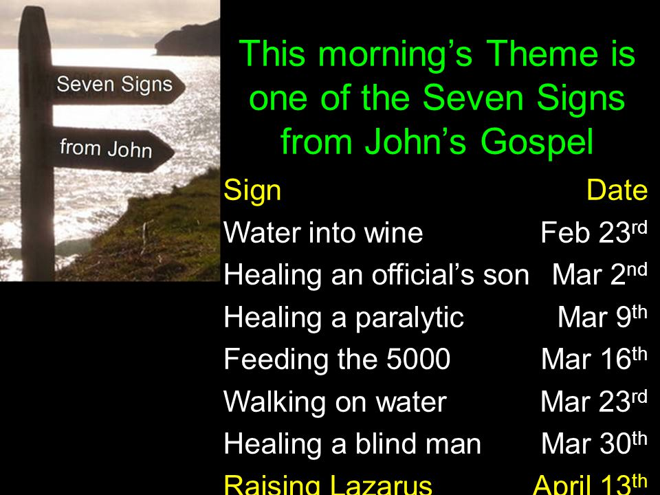This morning's Theme is one of the Seven Signs from John's Gospel