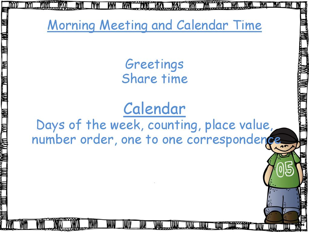 Welcome to kindergarten ppt download calendar morning meeting and calendar time greetings share time m4hsunfo