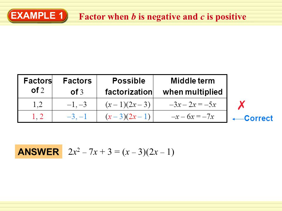 Factor when b is negative and c is positive