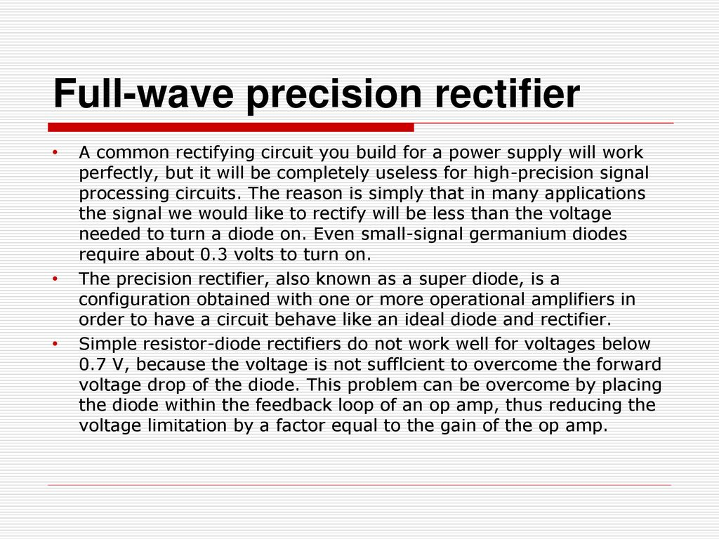 Amplifiers And Signal Processing Ppt Download High Frequency Sine Wave Generator Signalprocessing Circuit Full Precision Rectifier