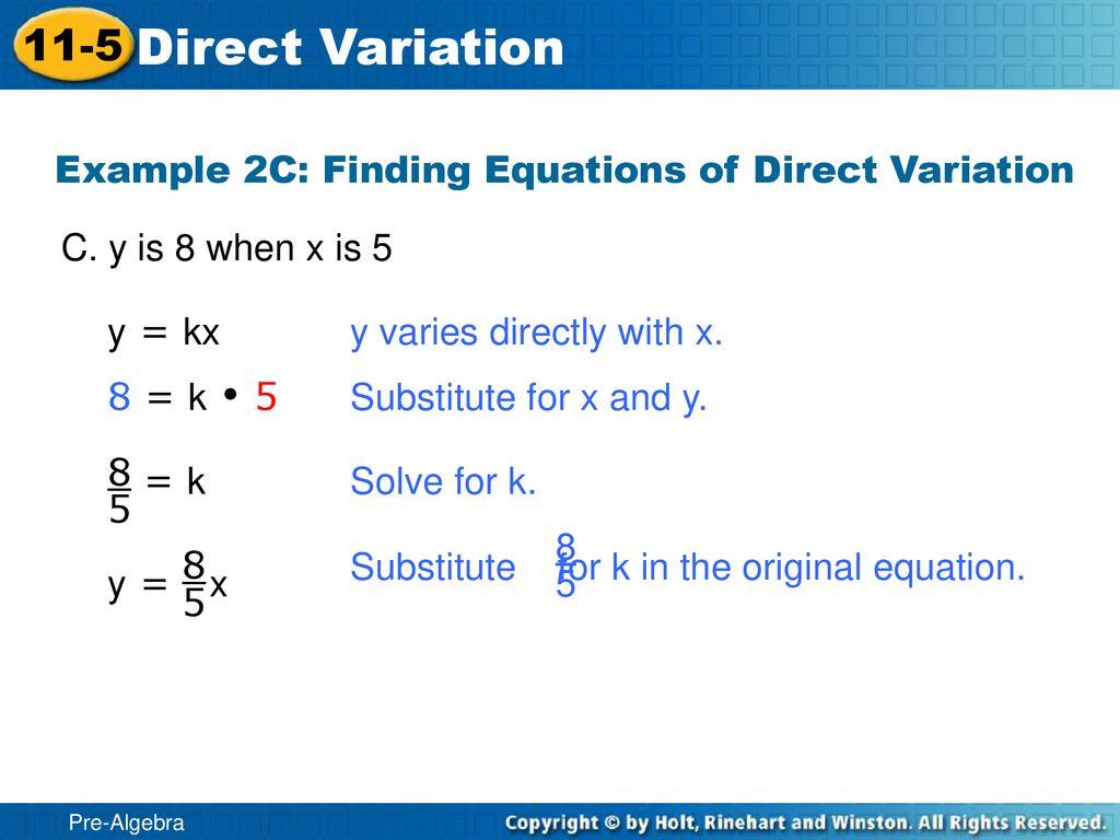 pre-algebra 11-5 direct variation - ppt download