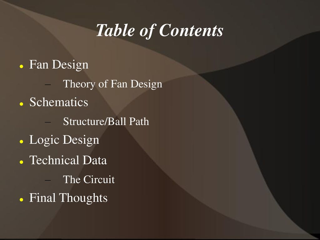 Table Of Contents Fan Design Schematics Logic Technical Data Circuit