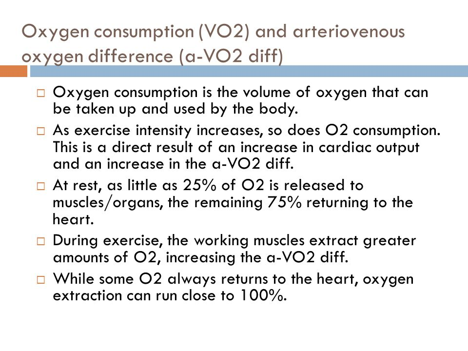 Oxygen consumption (VO2) and arteriovenous oxygen difference (a-VO2 diff)