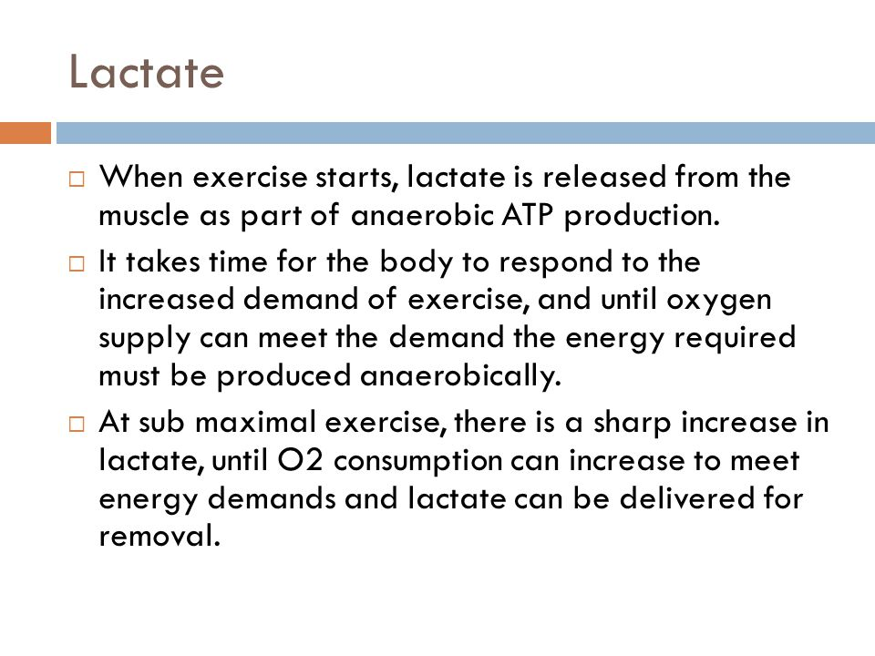Lactate When exercise starts, lactate is released from the muscle as part of anaerobic ATP production.