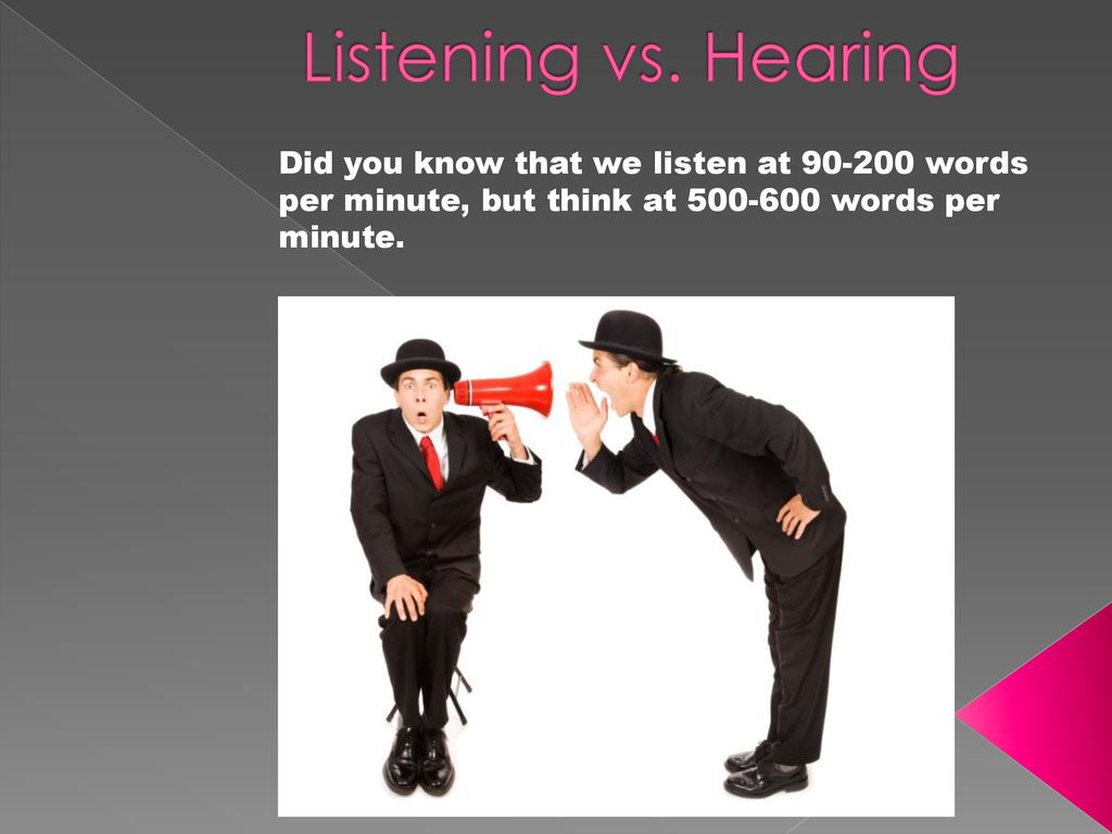 Listening vs  Hearing Did you know that we listen at words per