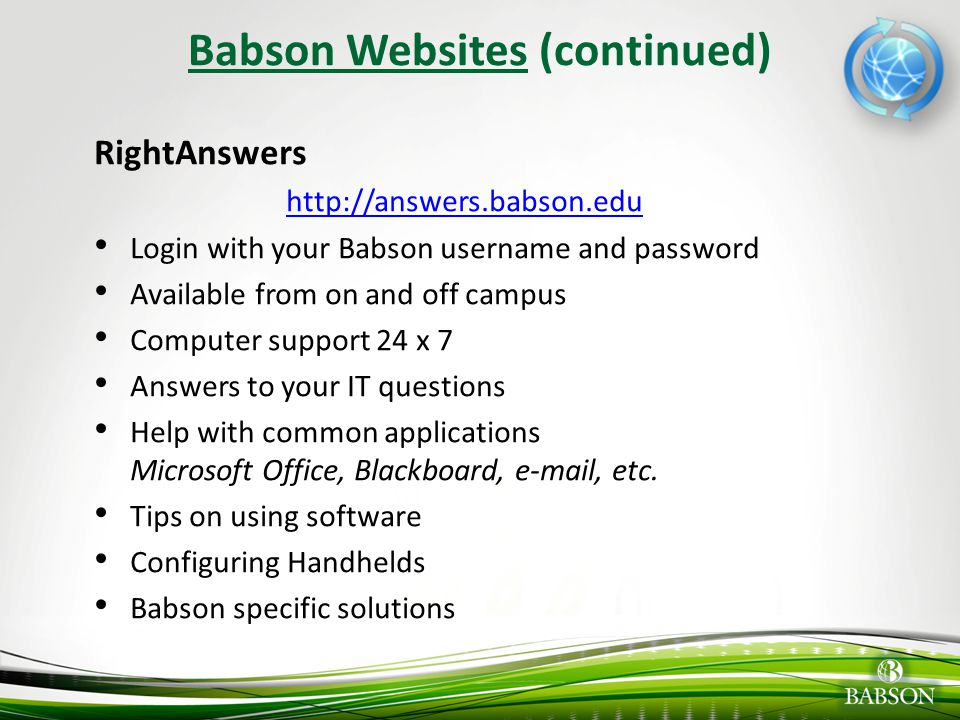 Babson Websites (continued)