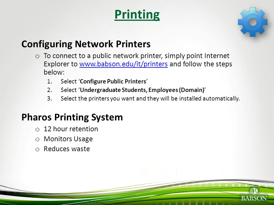 Printing Configuring Network Printers Pharos Printing System