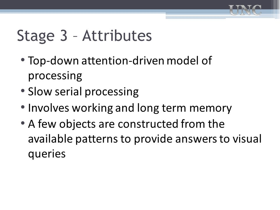 Stage 3 – Attributes Top-down attention-driven model of processing