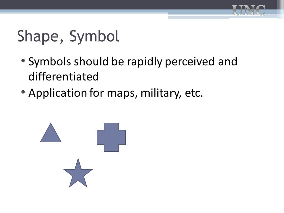 Shape, Symbol Symbols should be rapidly perceived and differentiated
