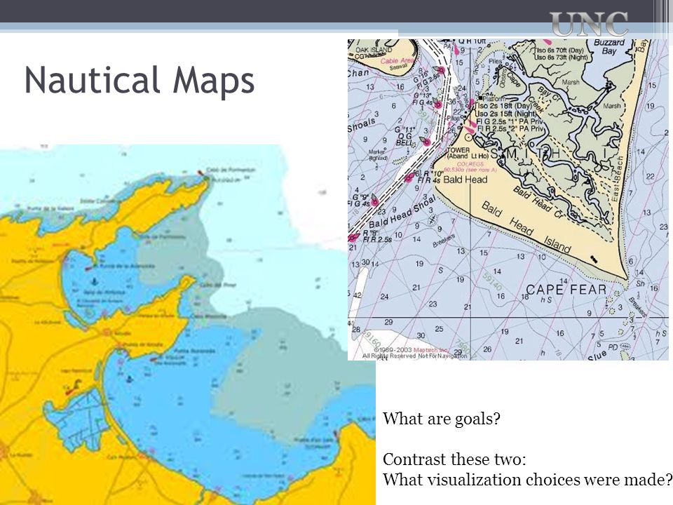 Nautical Maps What are goals Contrast these two: