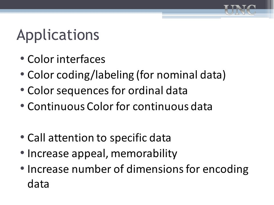 Applications Color interfaces Color coding/labeling (for nominal data)