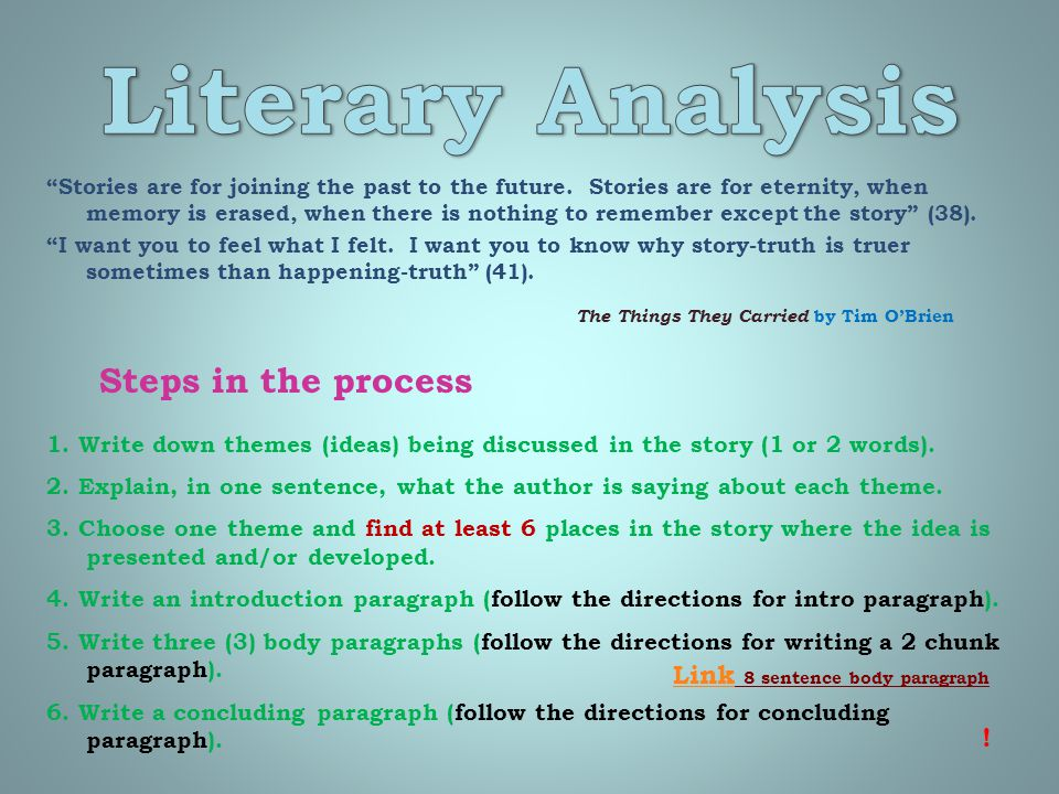 Literary Analysis Steps in the process Link 8 sentence body paragraph