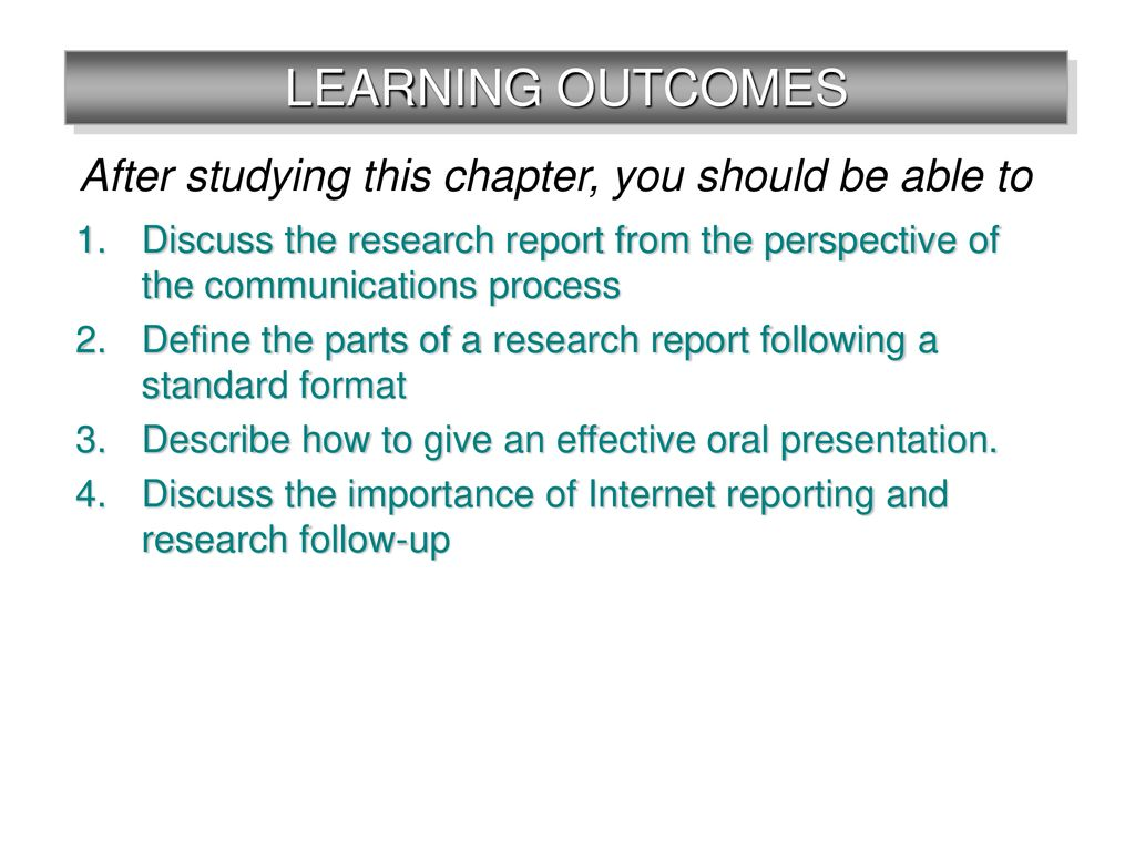 chapter 16 communicating research results research report oral