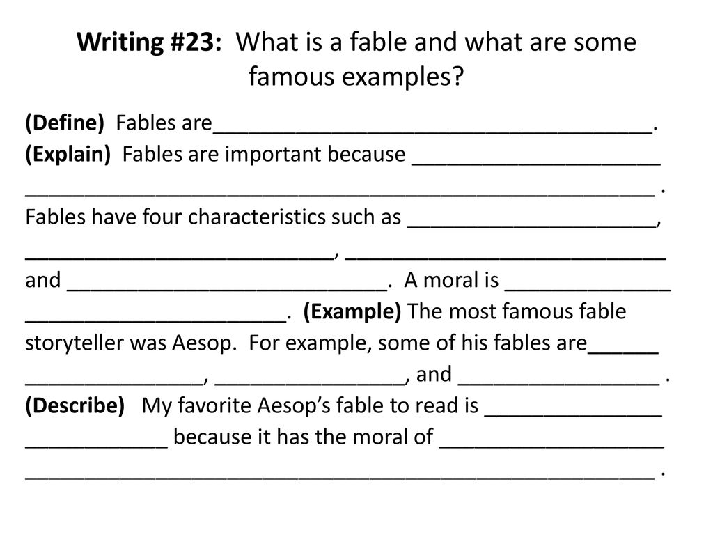 """A List Of Fables And Their Morals 23. fables """"fables are stories that teach a moral"""" - ppt"""