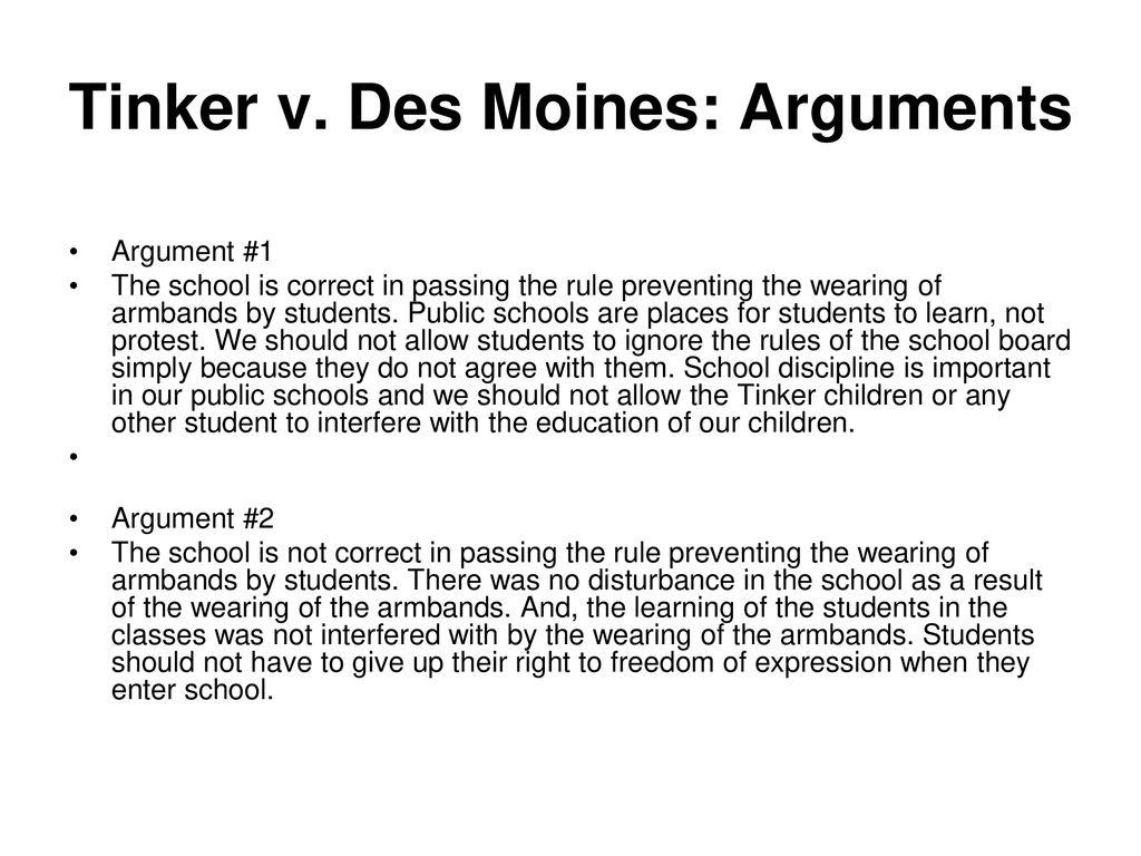 Top Five Tinker V Des Moines Arguments - Circus
