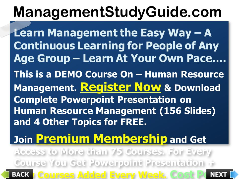 ManagementStudyGuide.com Learn Management the Easy Way – A Continuous Learning for People of Any Age Group – Learn At Your Own Pace….