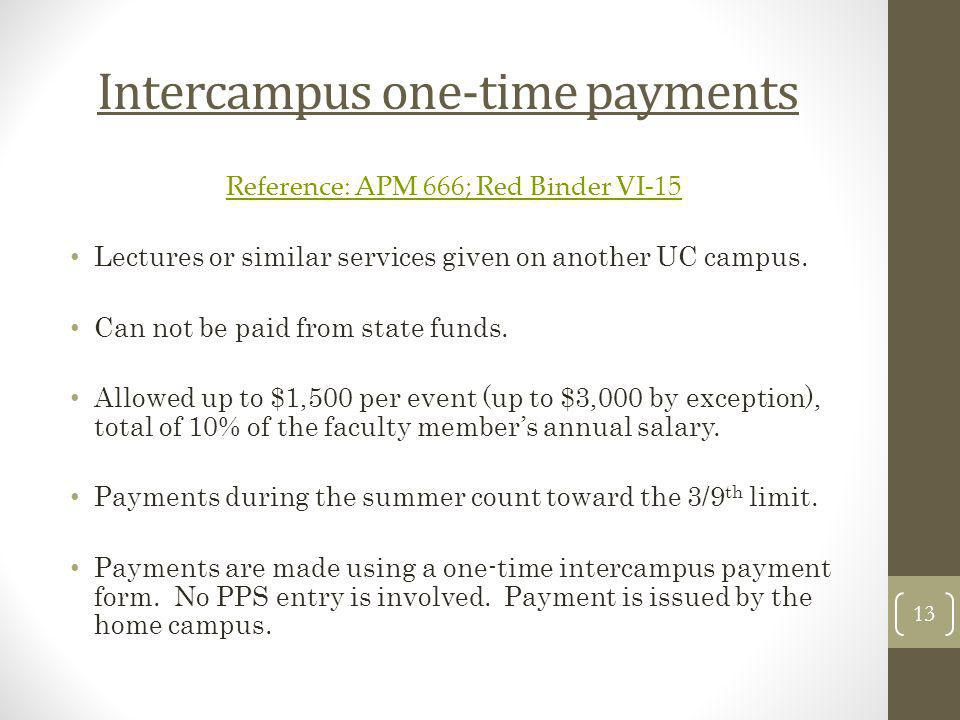 Intercampus one-time payments