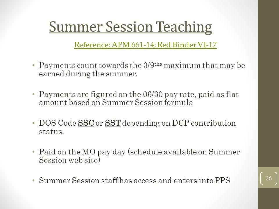 Summer Session Teaching