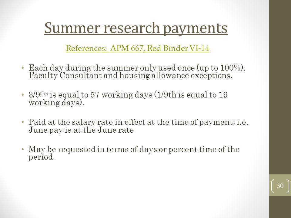 Summer research payments