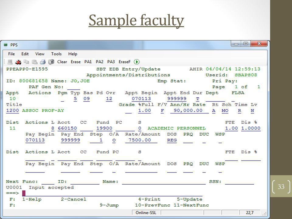 Sample faculty