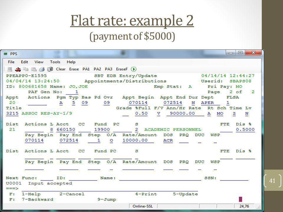 Flat rate: example 2 (payment of $5000)