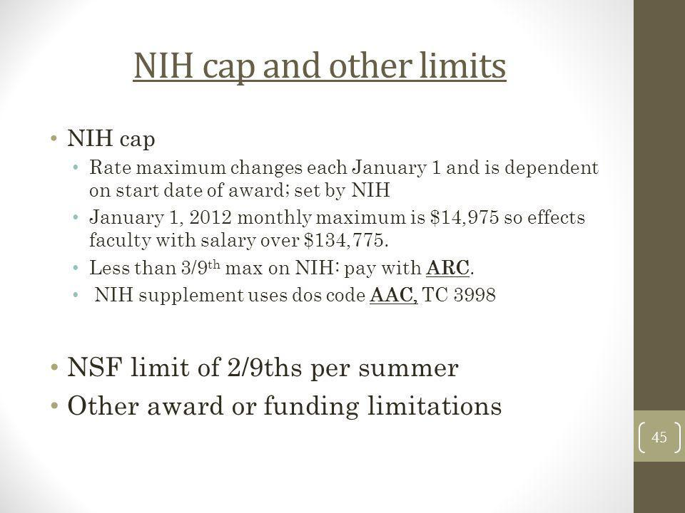 NIH cap and other limits