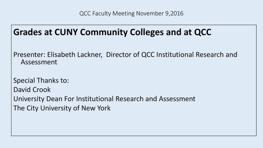 QCC Faculty Meeting November 9, ppt download