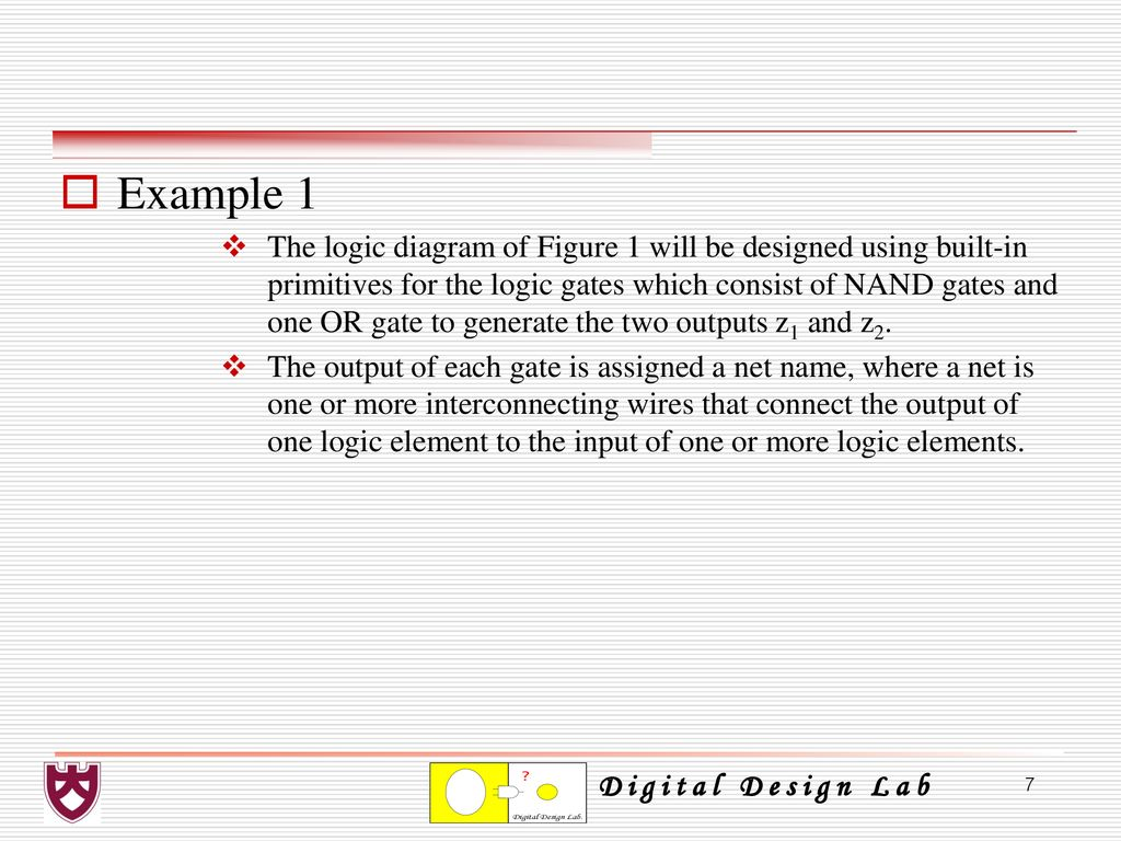 Chapter 4 Combinational Logic Design Using Verilog Hdl Ppt Download Gates Diagram Examples 7 Example 1 The