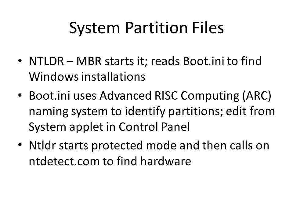 System Partition Files