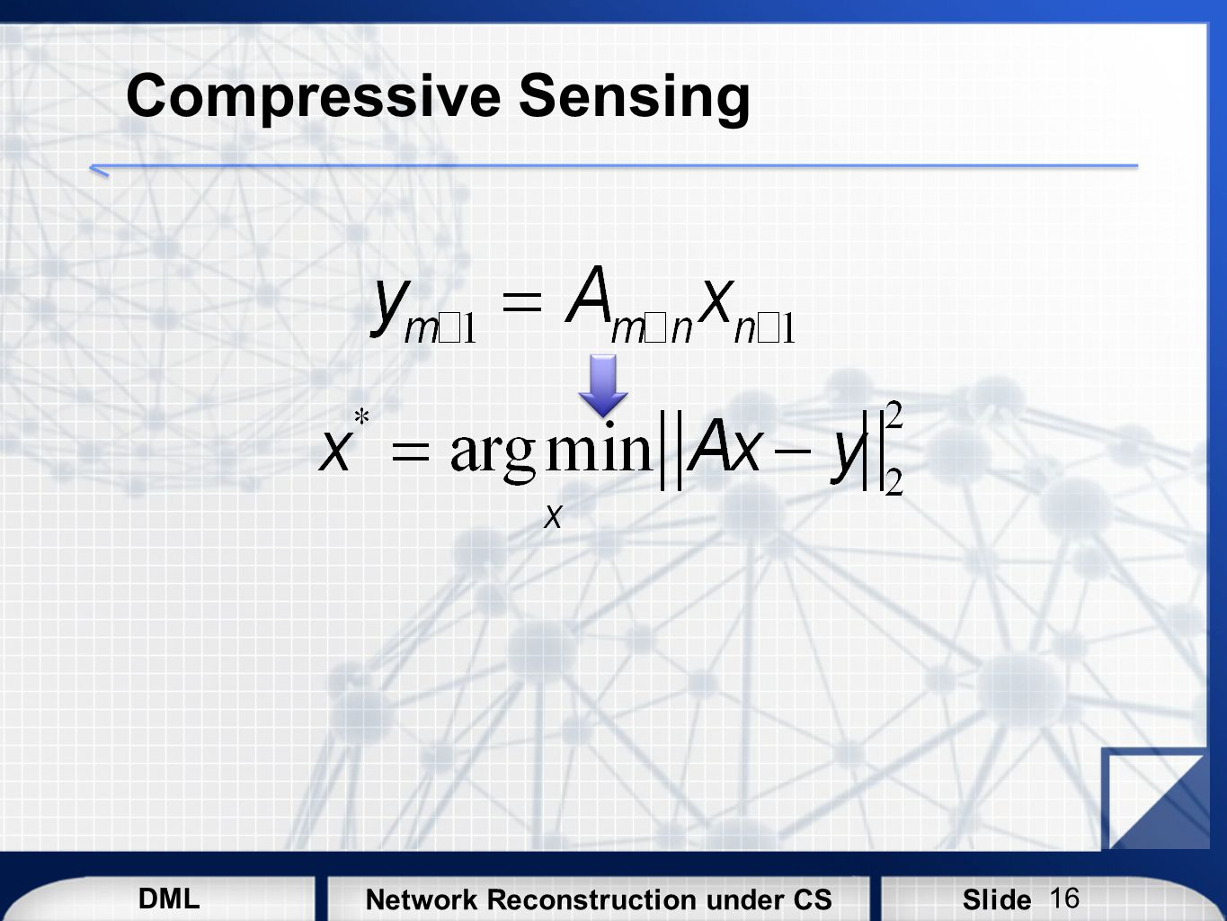 Compressive Sensing Typically, the solution of a linear system can be obtained by the least square minimization.