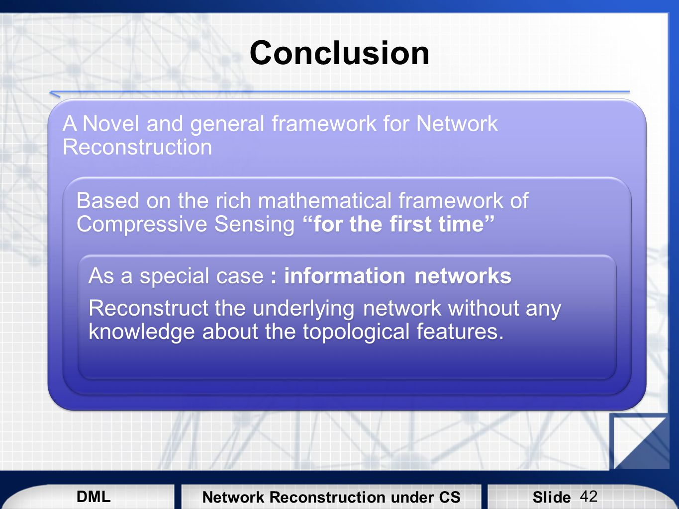Conclusion A Novel and general framework for Network Reconstruction