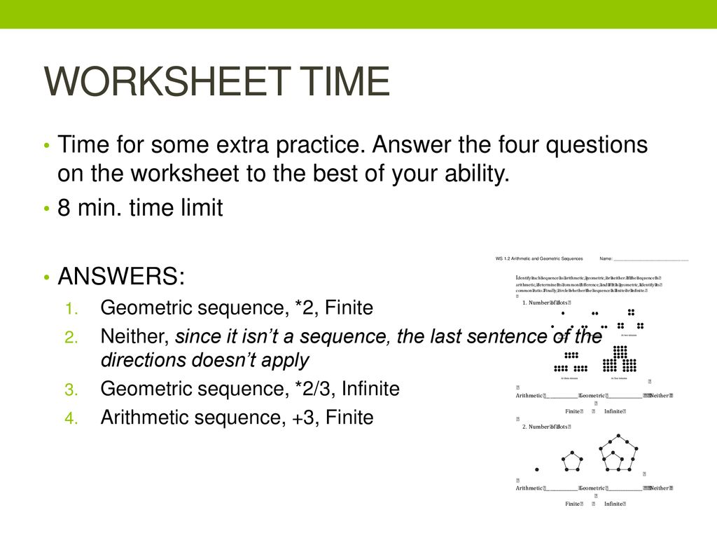 Arithmetic And Geometric Sequences And Series Review Worksheet