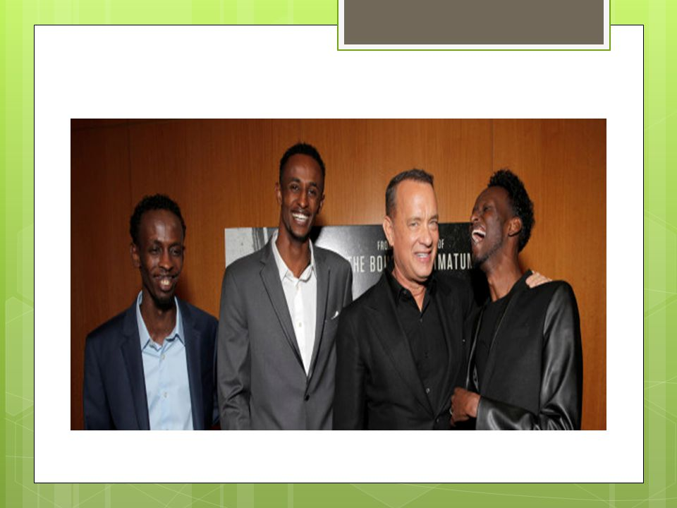 New celebrities Abdi, Barkhad and Faysal,actors of Captain Phillips, with Tom Hanks